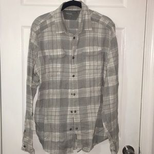 Gray and white plaid flannel